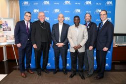 From L to R: ADL New York Regional Director Evan Bernstein; Bishop John O'Hara, Auxiliary Bishop at the Archdiocese of New York; ADL CEO Jonathan Greenblatt; Sheikh Yahya Abubakar, Islamic Cultural Center School; Rabbi David Sandmel, ADL Director of Interfaith Affairs; Andrew Frackman, ADL New York Region Board Chair